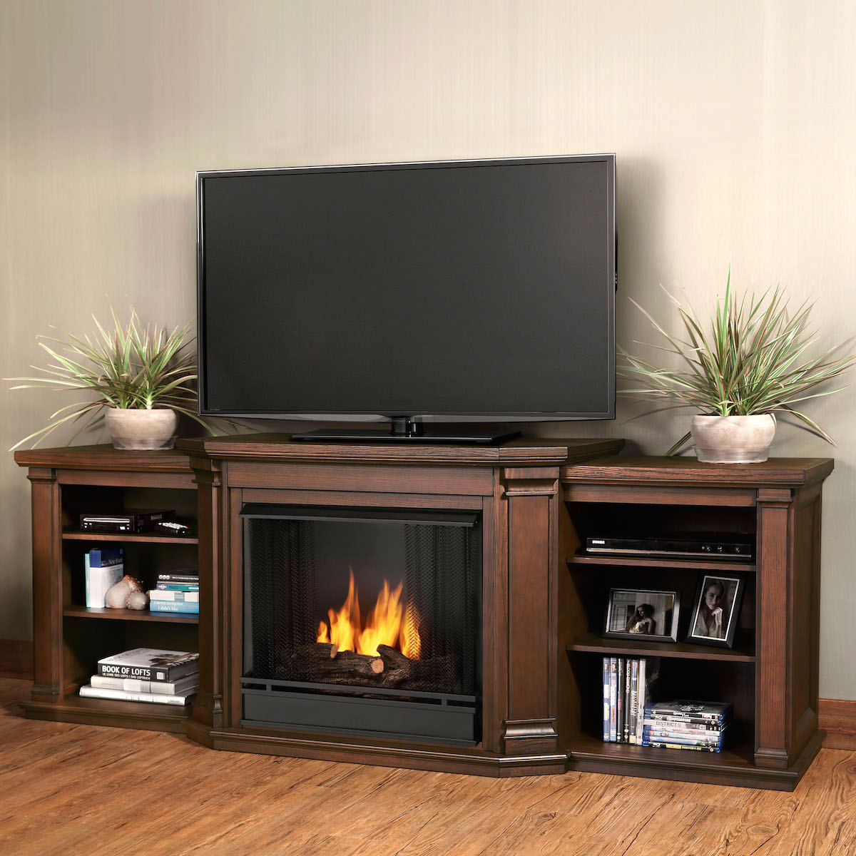 Ventless Fireplace: Real Flame Valmont Entertainment Center Ventless Gel