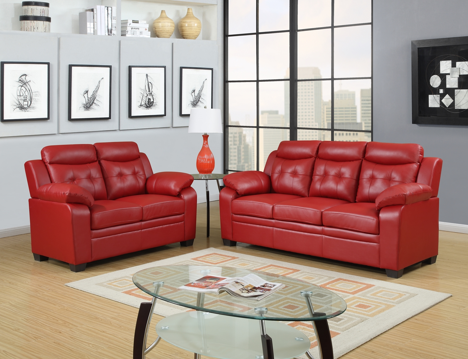 Red Apartment Size Casual Contemporary Bonded Leather Sofa Set