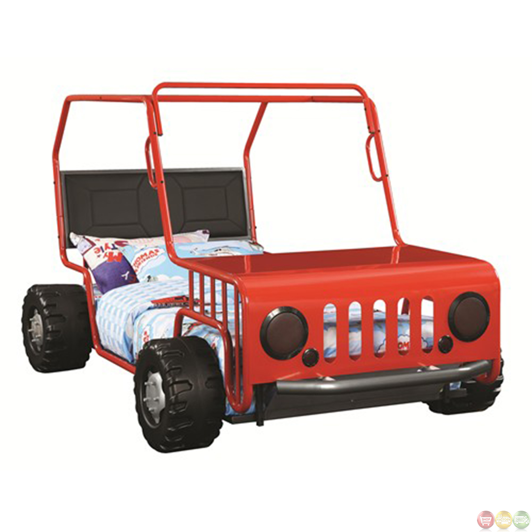 Red Metal Frame Jeep Car Kids Novelty Twin Bed