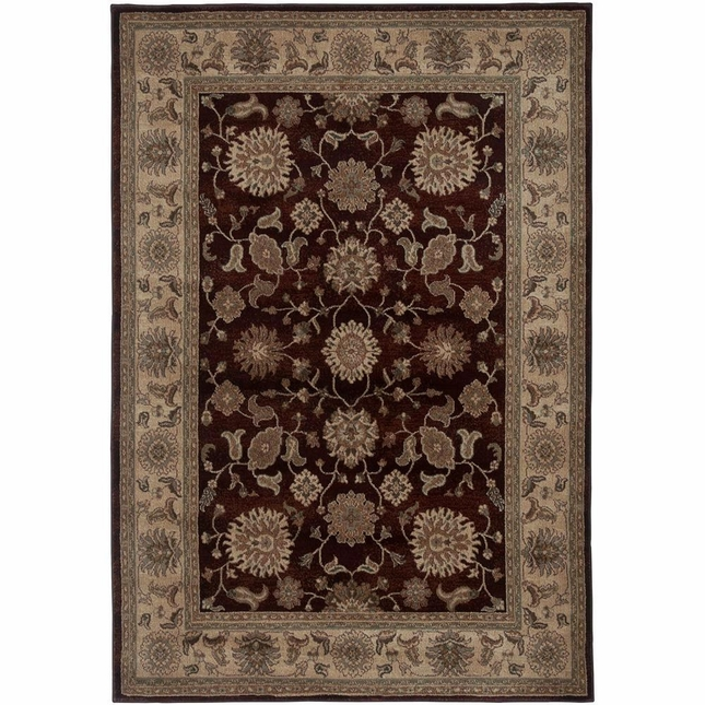 Rizzy Rugs Red Traditional Power Loomed Area Rug Bellevue BV3713