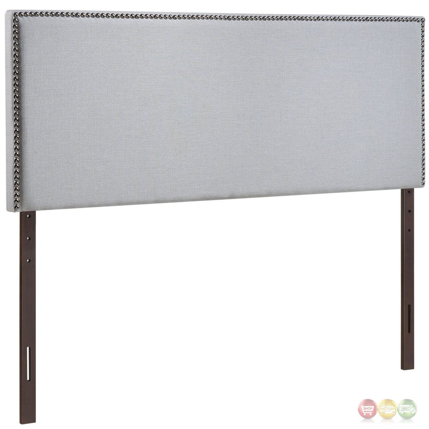Region Full Nail Head Trimmed Upholstered Headboard Sky Gray
