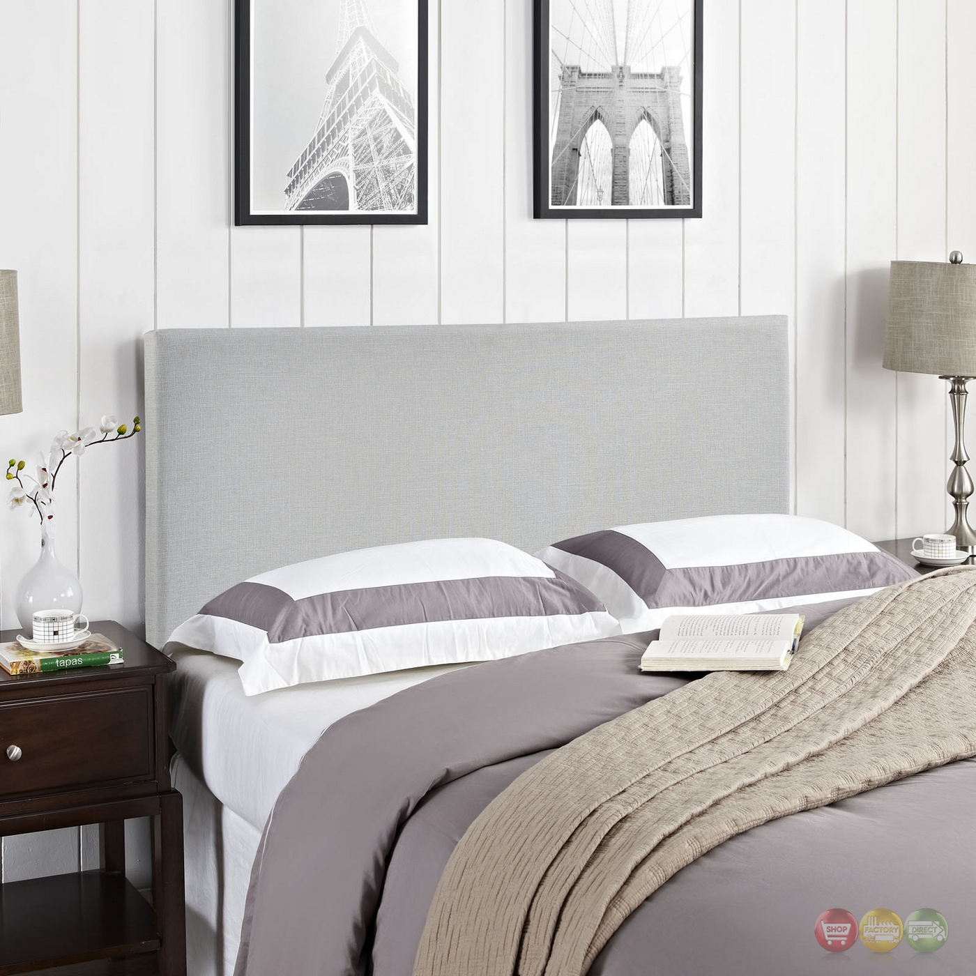 Region Modern Plain Queen Upholstered Headboard Sky Gray