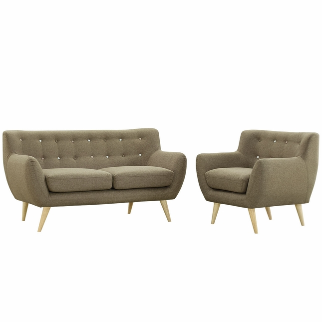 Remark Modern 2pc Button-tufted Upholstered Living Room Set, Brown