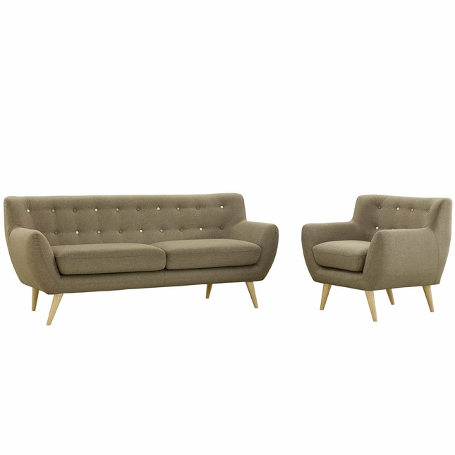Mid-Century Modern Remark 2pc Button-Tufted Living Room Set, Brown