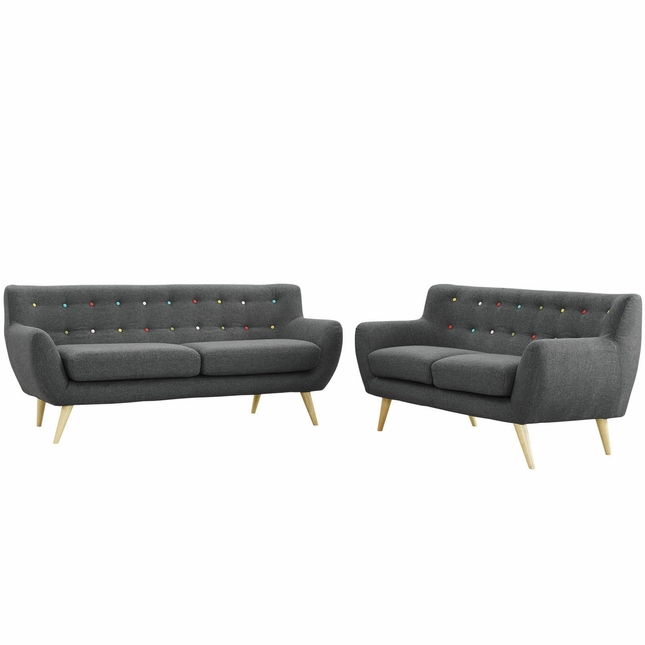 Remark Modern 2pc Button-tufted Upholstered Living Room Set, Gray