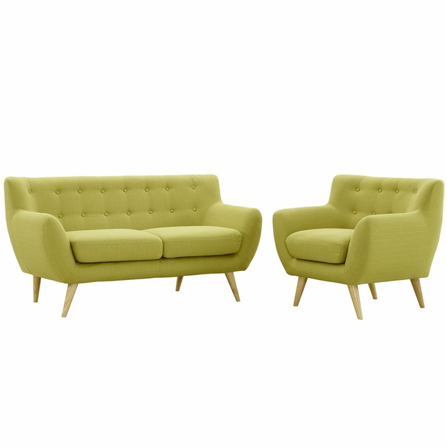 Remark Modern 2pc Button-tufted Upholstered Living Room Set, Wheat
