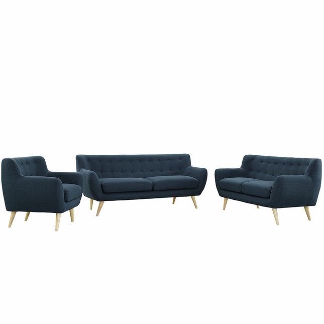 Mid-Century Modern Remark 3pc Button-Tufted Living Room Set, Azure