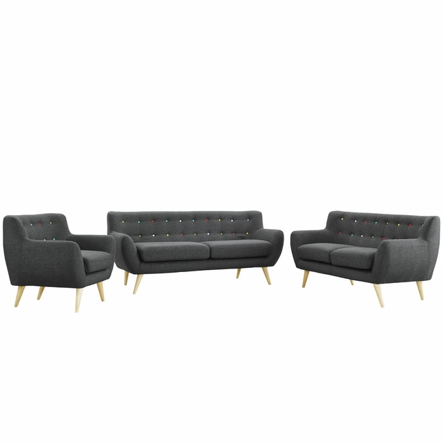 Remark Modern 3pc Button-tufted Upholstered Living Room Set, Gray