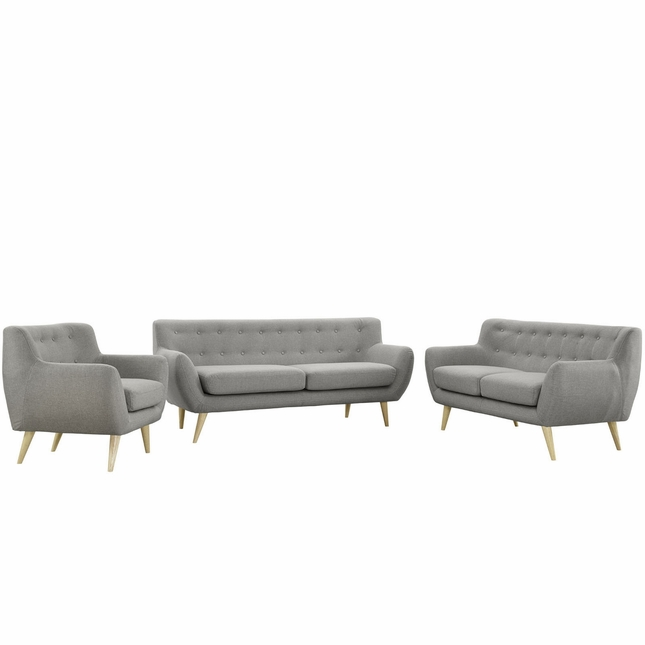 Remark Modern 3pc Button-tufted Upholstered Living Room Set, Light Gray