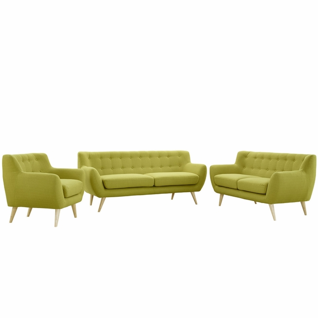Remark Modern 3pc Button-tufted Upholstered Living Room Set, Wheat