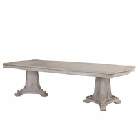 Renaissance Antique Grey Double Pedestal Dining Table With Carved Details