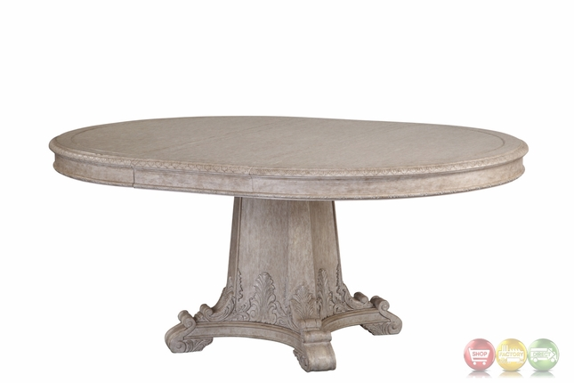 Antique Grey Extendable Round Dining Table With Carved Details
