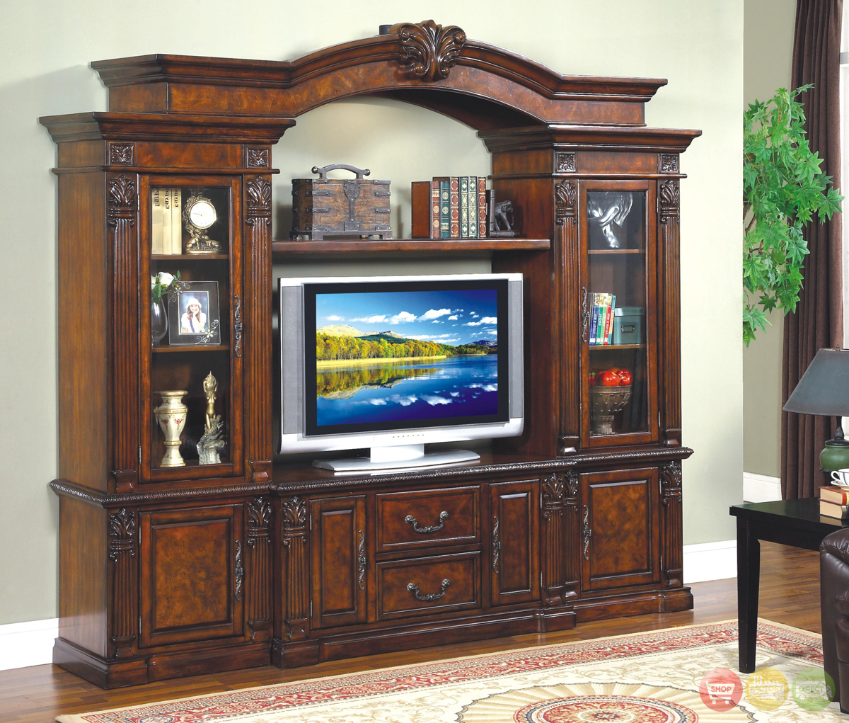 Renaissance traditional entertainment center wall unit for Traditional wall units