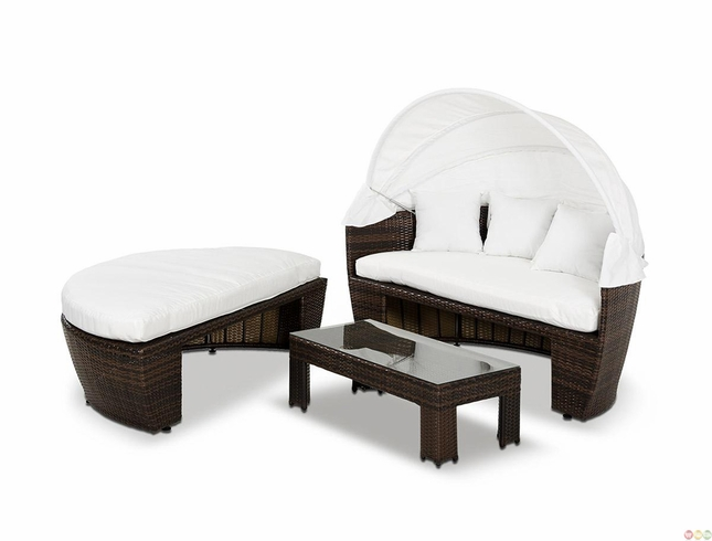 Outdoor Wicker Patio Furniture Round Daybed w Retractable