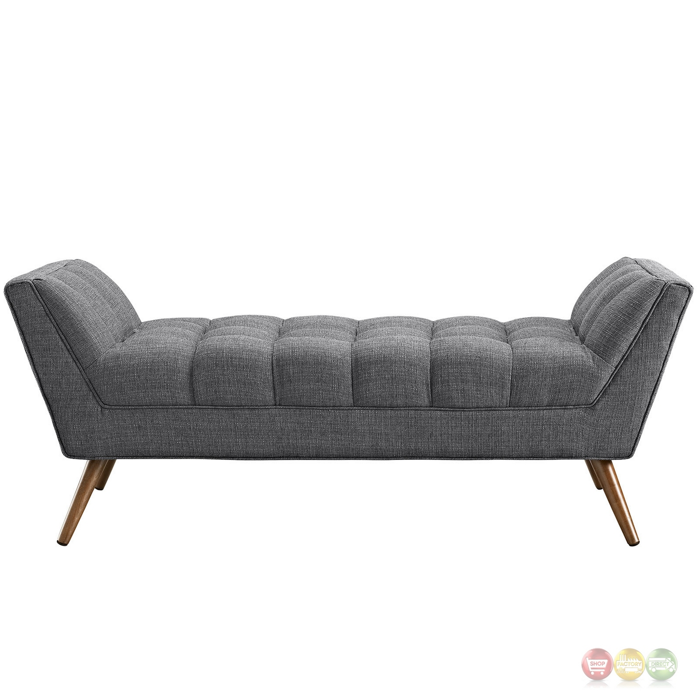 Response Contemporary Button Tufted Upholstered Bench Gray 21 Build Mid Century Modern Furniture
