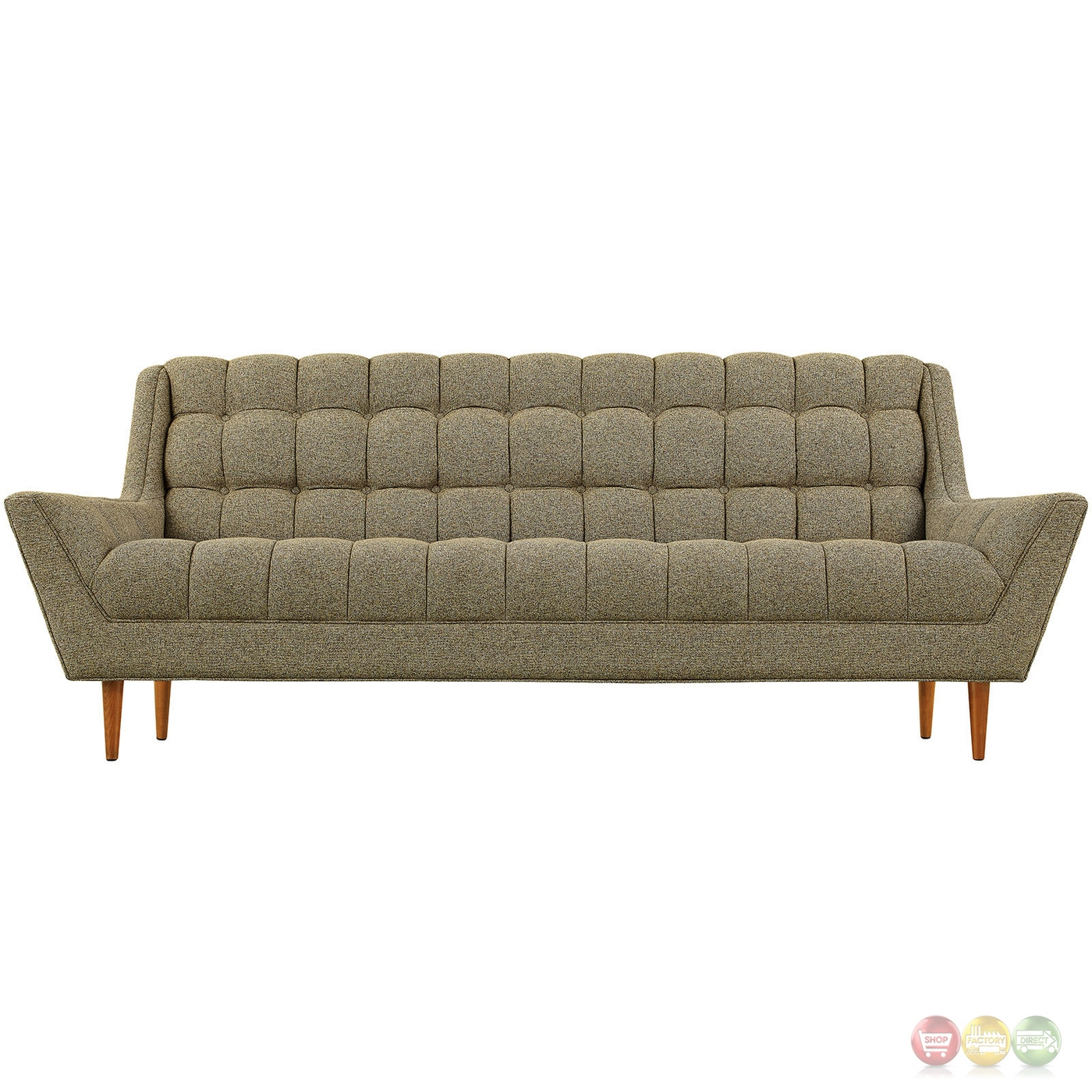 response contemporary button tufted upholstered sofa oatmeal