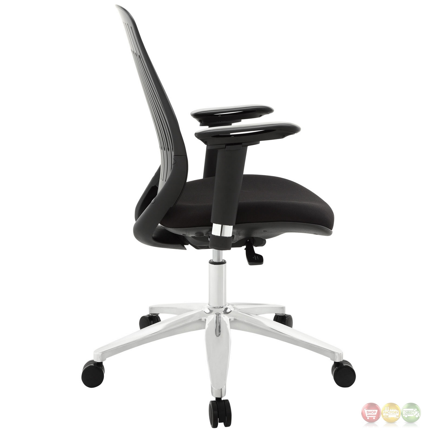 contemporary slit back premium office chair w aluminum base black