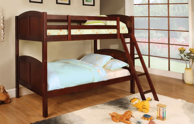 Rexford Cherry Bunk Bed with Angled Ladder