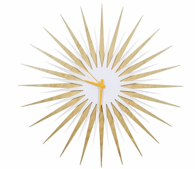 RF Atomic Wall Clock Maple White/Orange Retro Starburst L0192