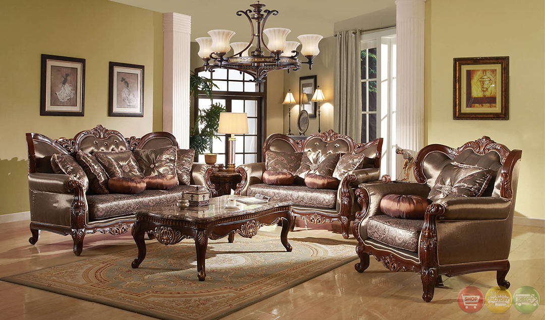 Rhapsody Traditional Dark Wood Formal Living Room Sets With Carved Accents RP