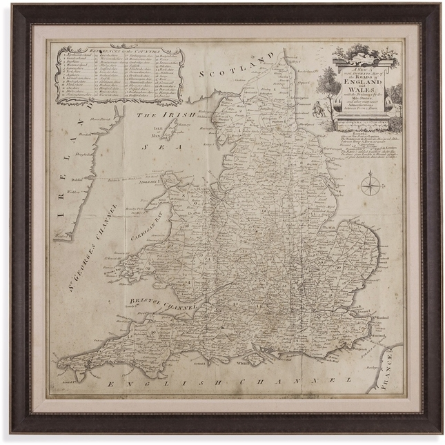 Road Map of England and Wales Framed Art 9900-250EC