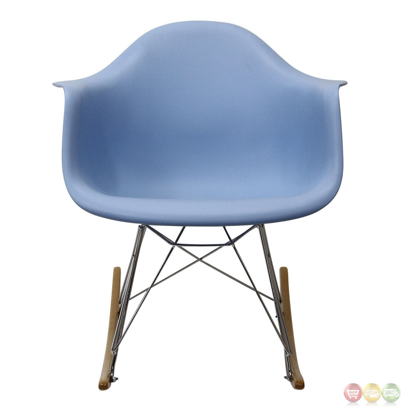 Rocker Molded Plastic Rocking Lounge Chair With Chrome & Wood Base Blue