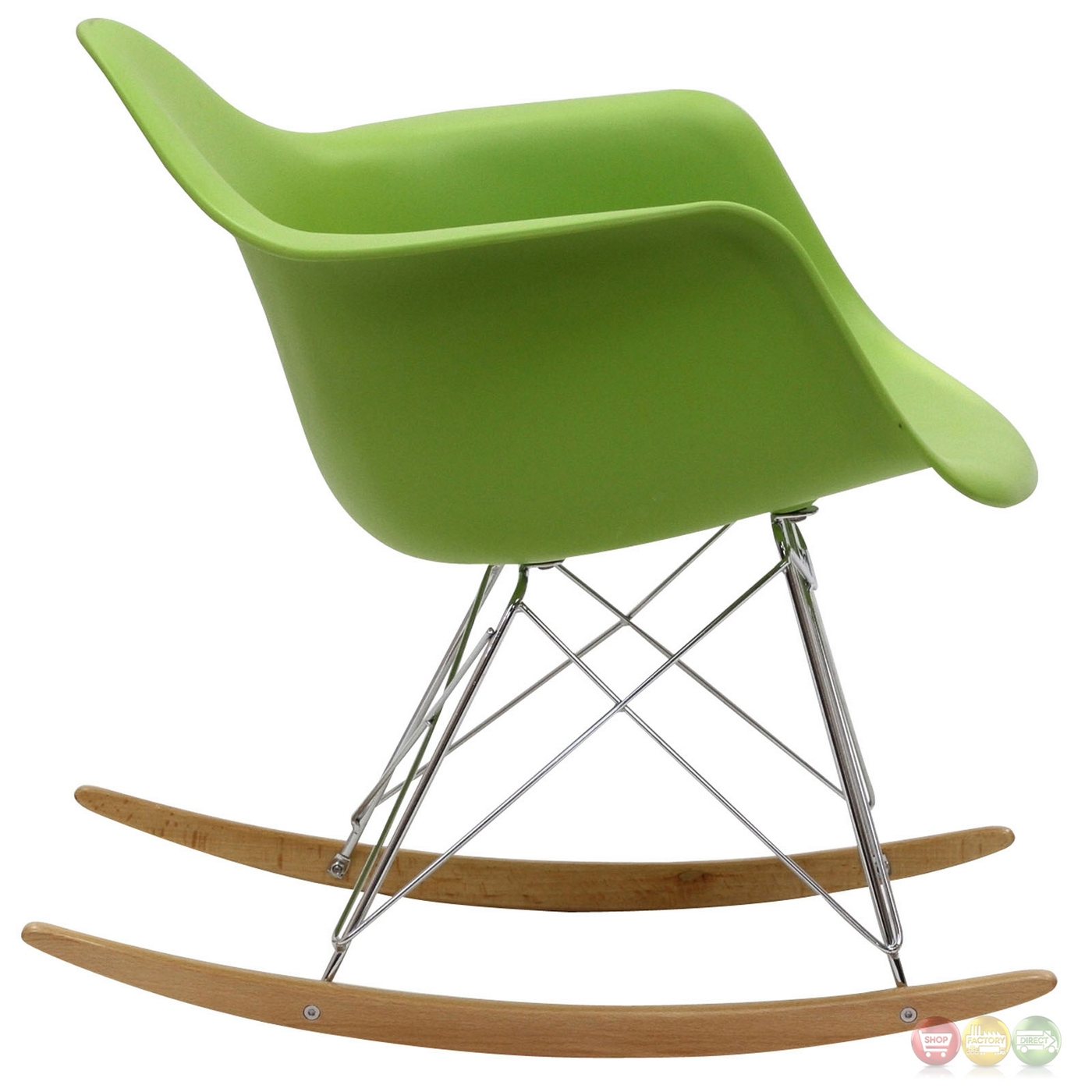 Rocker Molded Plastic Rocking Lounge Chair With Chrome & Wood Base Green