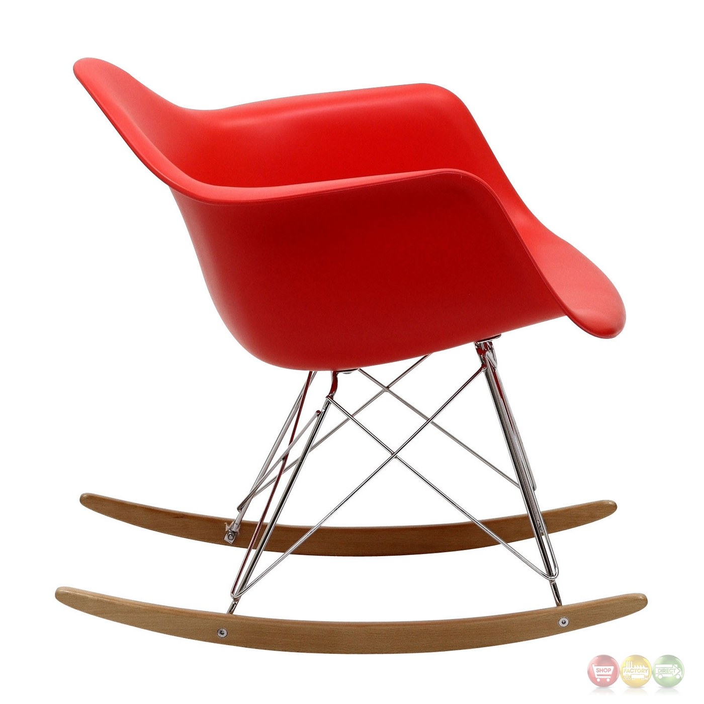Rocker Molded Plastic Rocking Lounge Chair With Chrome & Wood Base Red