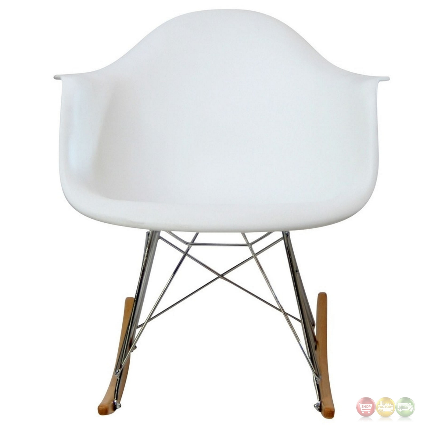 Rocker Molded Plastic Rocking Lounge Chair With Chrome & Wood Base White