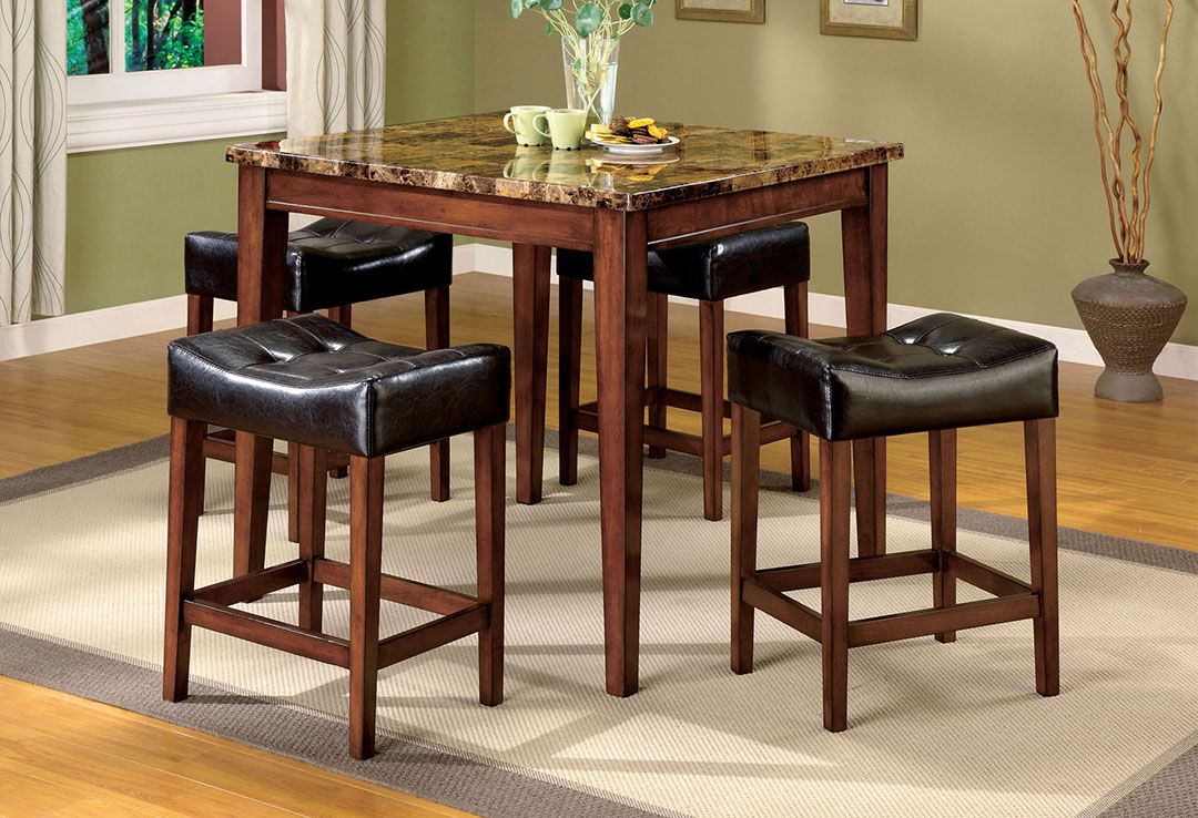 Rockford III Transitional Dark Oak Counter Height Dining Set With Leatherette