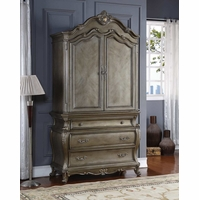 Roma French Bombe 3-drawer Armoire Antique Silver