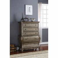 Roma French Bombe 5-drawer Chest Antique Silver