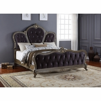 Roma French Bombe Crystal Tufted King Bed Antique Silver