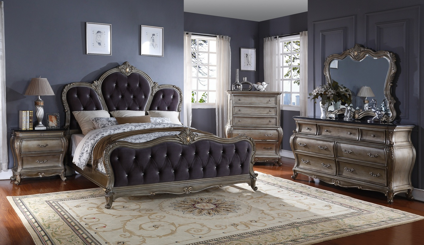 tufted 4 piece king bedroom set in antique silver item mf roma k set