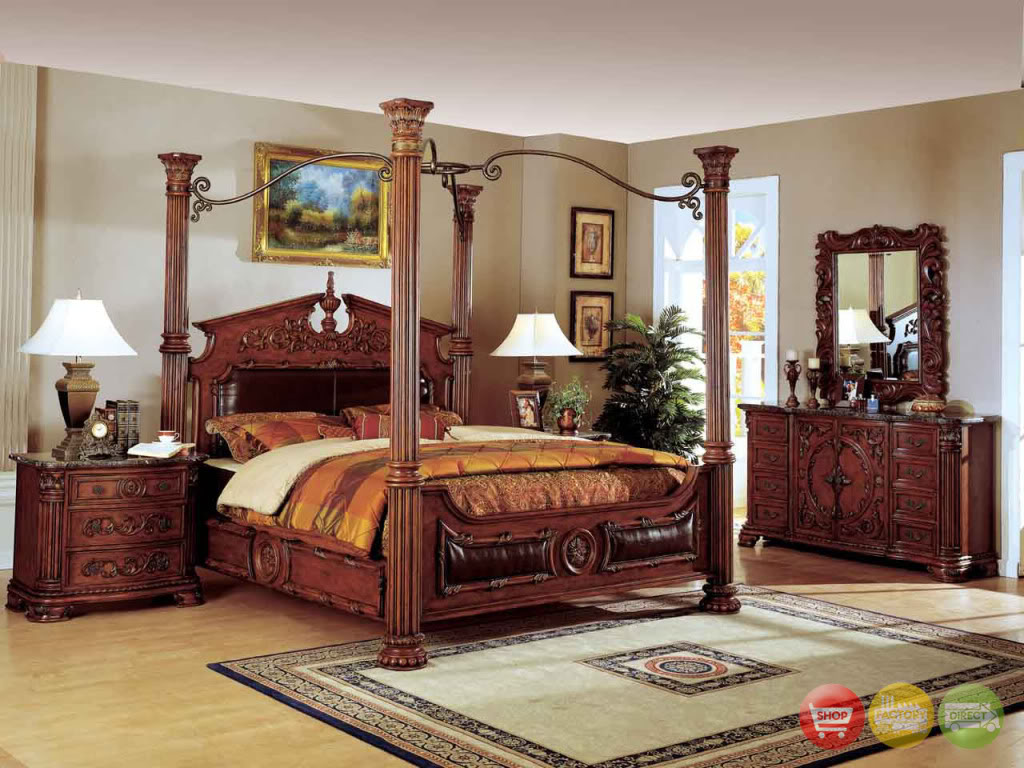 traditional canopy bed w leather bedroom set w marble tops free