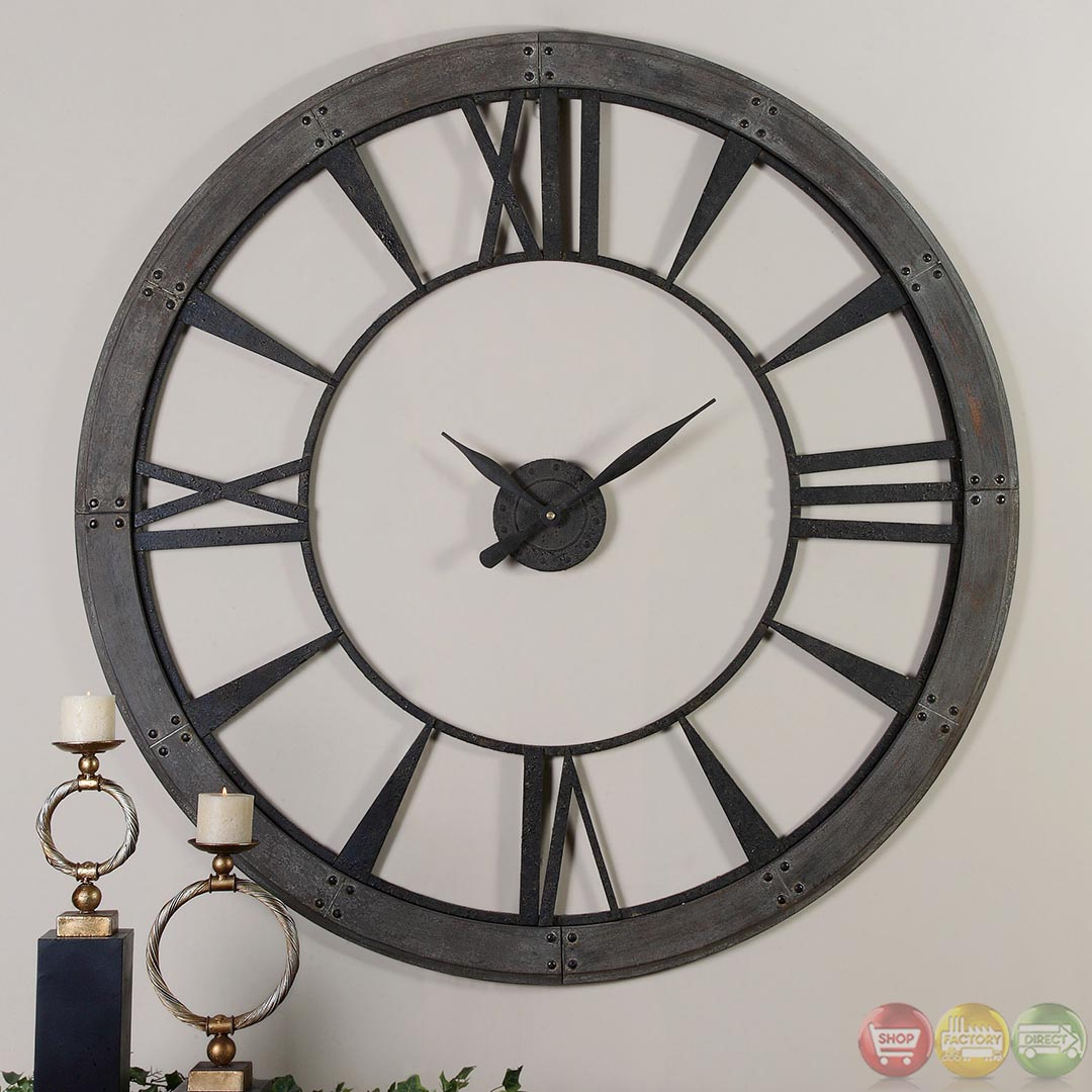 Ronan Dark Rustic Bronze Large Wall Clock 06084