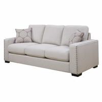 Rosanna Plush White Linen Sofa With Nailhead Trim
