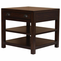 Rosanna Solid Mahogany End Table With Open Storage Shelves