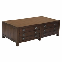 Rosanna Vintage Cocoa 4-Drawer Solid Mahogany Coffee Table