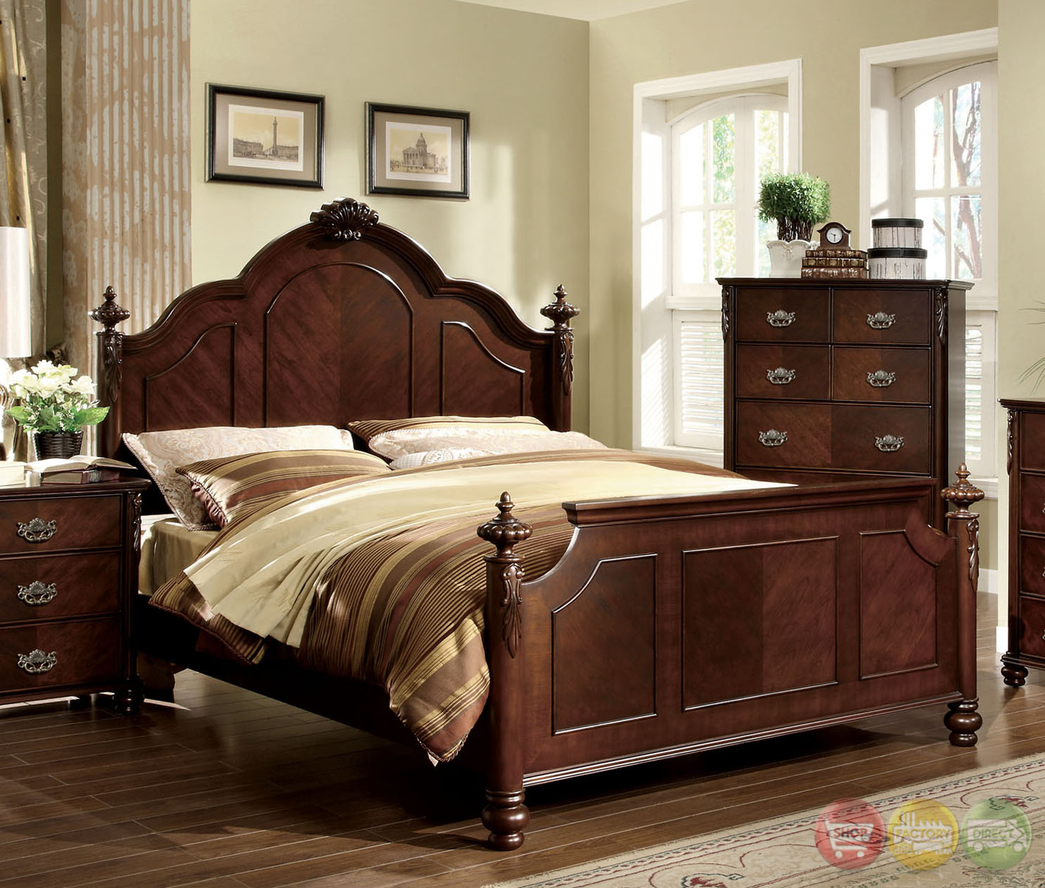 Traditional Bedroom Pictures: Roseland Traditional Brown Cherry Bedroom Set With