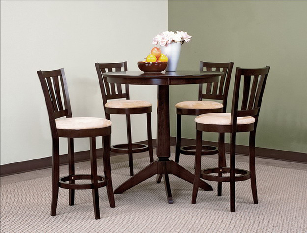 Round Pub Table Amp Stools Microfiber Cushions Cappuccino Finish
