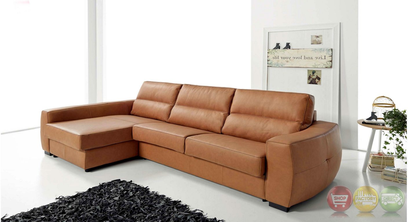 Roy Reversible Top Grain Leather Sectional Sleeper Sofa In Tan
