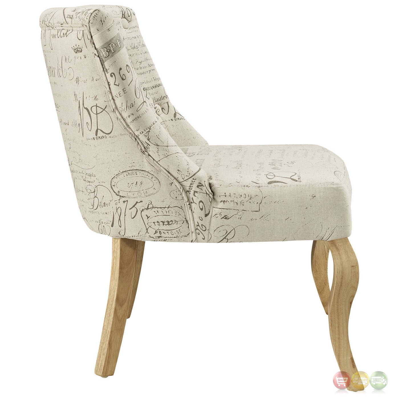 Superb img of  French inspired Patterned Accent Chair With Curved Wood Legs White with #A3282A color and 1400x1400 pixels
