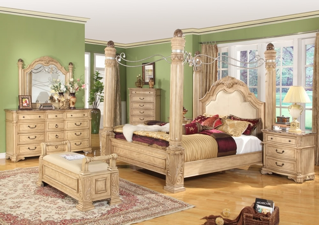 Royale Light Poster Canopy Bed Leather & Marble Bedroom Set