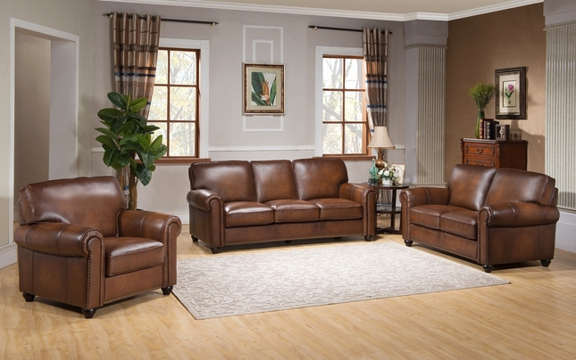 Royale Olive Brown 3 Piece Sofa Set With Luxury Top Grain Leather