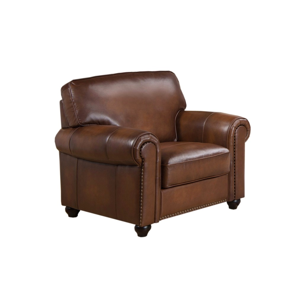 Royale Olive Brown Genuine Leather Armchair With Nailhead Trim