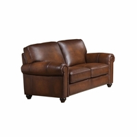 Royale Olive Brown Genuine Leather Loveseat With Nailhead Trim