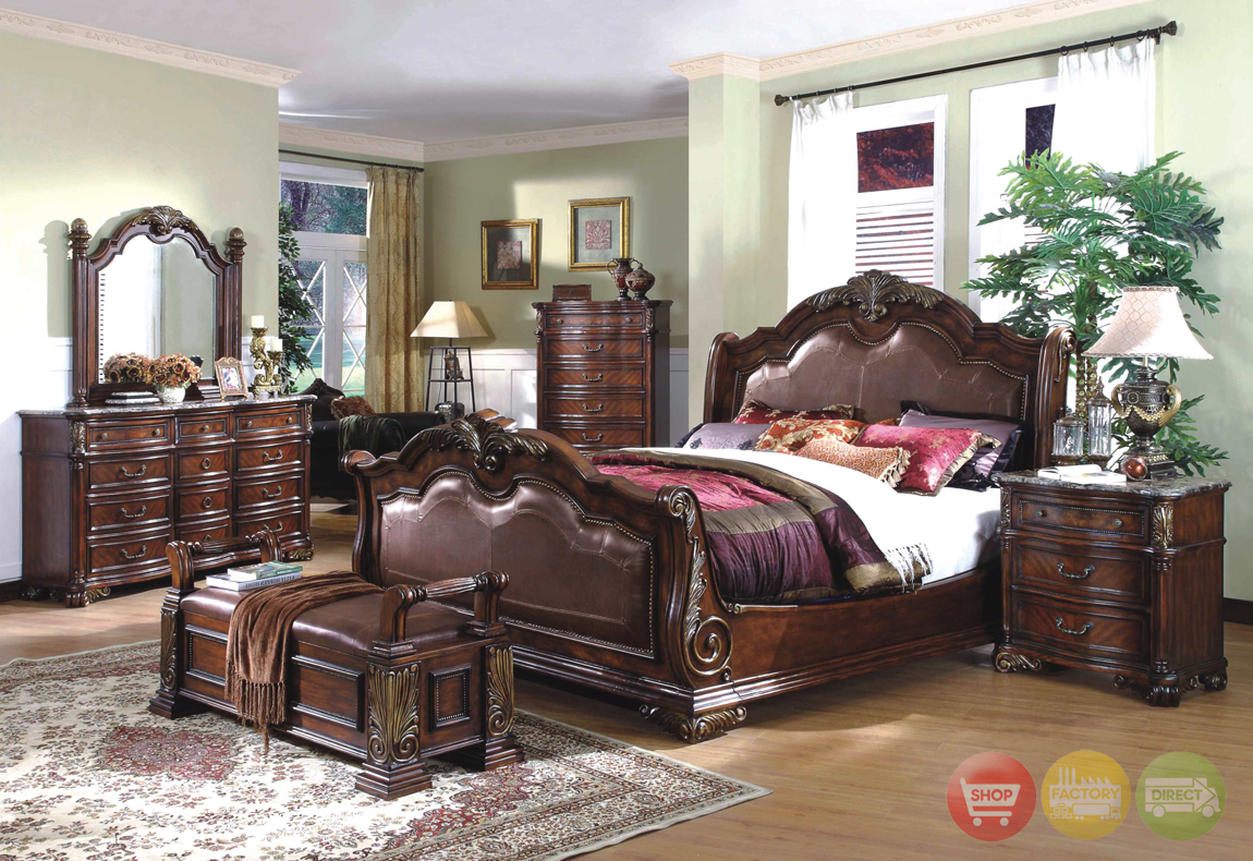 royale sleigh dark bed luxury bedroom furniture set free shipping