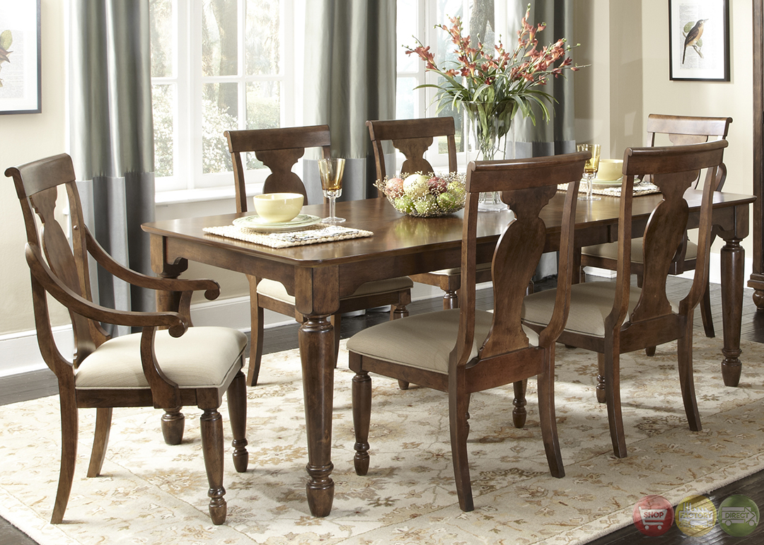 Rustic Cherry Rectangular Table Formal Dining Room Set Design