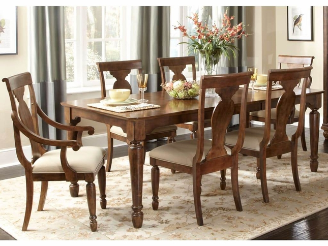 Rustic Cherry Rectangular Table Formal Dining Room Set